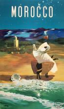 MOROCCO - FIGURE AT THE BEACH ORIGINAL VINTAGE POSTER