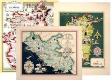 THREE ORIGINAL VINTAGE ITALIAN MAPS - LAZIO, PIEMONTE, SARDEGNA