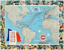 FRENCH LINE MAP ORIGINAL VINTAGE POSTER