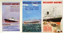 GROUP OF THREE ORIGINAL VINTAGE MESSAGERIES MARITIMES SAILING POSTERS