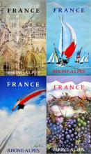 GROUP OF FOUR RHONE ALPES FRENCH ORIGINAL VINTAGE TRAVEL POSTERS