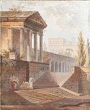 ierre DRAHONET. Roman Ruins. A pair of signed goua