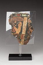 SARCOPHAGE FRAGMENT. Stucked and painted hessian.