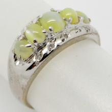 PLATINUM 1.50 CTS CAT'S EYE AND DIAMONDS RING - 4.4 GR - SZ 6
