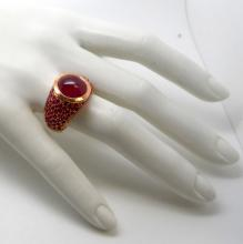 18K PINK GOLD 15 CTS RUBY COCKTAIL RING - 13.6 GR - SZ 9