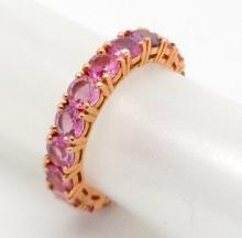 14K ROSE GOLD PINK SAPPHIRE ETERNITY RING - 4.1 GR - SZ 6 1/2