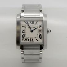 CARTIER TANK FRANCAISE 2465 STAINLESS STEEL MIDSIZE QUARTZ WATCH