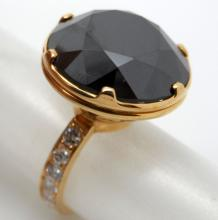 14K GOLD 19 CTS MOINSSANITE 1+ CTS DIAMOND COCKTAIL HANDMADE RING - 10.5 GR - SZ 6