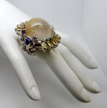HANDMADE 925 SILVER 40 CTS RUTILATED QUARTZ 15 CTS SAPPHIRE COCKTAIL RING - 37.1 GR - SZ 7