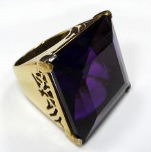 25 CTS JAPANESE AMETHYST COOPER COCKTAIL RING - 21.7 GR - SZ 8