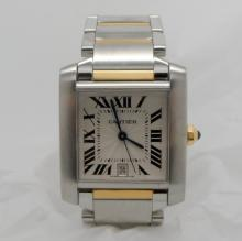 CARTIER TANK FRANCAISE 2302 TWO TONE WHITE ROMAN DIAL WATCH