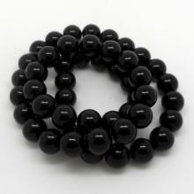 8 MM ONYX ROUND BEAD STRAND - 178 CTS  - 16 INCHES LONG