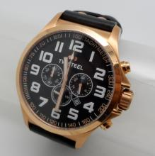 TW STEEL DATE CHRONOGRAPH STAINLESS STEEL ON BLACK LEATHER QUARTZ WATCH - 50 MM - TW419