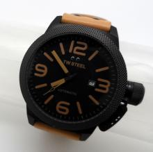 TW STEEL DATE  STAINLESS STEEL ON BROWN LEATHER AUTOMATIC WATCH - 50 MM - TW725