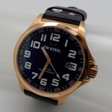 TW STEEL STAINLESS STEEL ON BLUE LEATHER QUARTZ WATCH - 45 MM - TW404