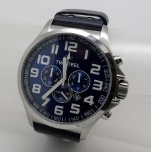 TW STEEL DATE CHRONOGRAPH STAINLESS STEEL ON BLUE LEATHER QUARTZ WATCH - 50 MM - TW403