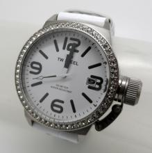 TW STEEL DATE STAINLESS STEEL ON WHITE LEATHER QUARTZ ZIRCONIA DIAL WATCH - 45 MM - TW35