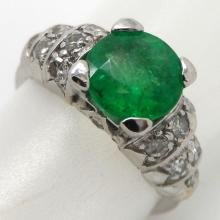 14K W/GOLD 1.50 CTS EMERALD AND DIAMOND RING - 4.8 GR - SZ 4 1/2