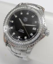 TAG HEUER WJ1117-0 LINK DIAMOND BEZEL BACK DIAL STEEL WATCH