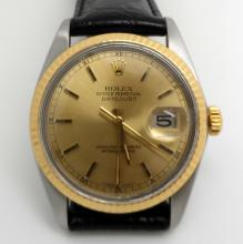 ROLEX 16013 STAINLESS AND 18K GOLD DATEJUST MEN'S WATCH