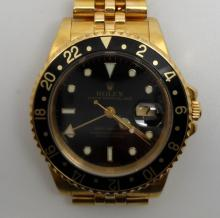 ROLEX GMT MASTER 18K YELLOW GOLD WATCH 16758 W/BOX AND PAPERS