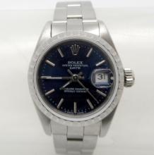 ROLEX DATE LADIES STAINLESS STEEL BLUE DIAL WATCH - 26 MM