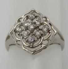 PLATINUM 0.50 CTS DIAMOND RING - 2.6 GR - SZ 4 3/4