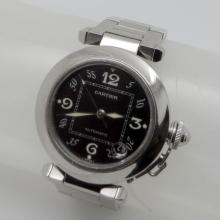 CARTIER PASHA C BLACK DIAL STAINLESS STEEL AUTOMATIC WITH DATE 36MM UNISEX WATCH