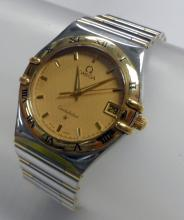 OMEGA CONSTELLATION TWO TONE GOLD AND STAINLESS STEEL WATCH - 32 MM