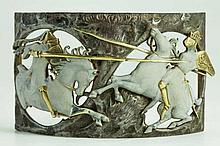 LALIQUE : Plaque de collier de chien en argent, ve