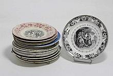 Lot de dix-sept assiettes dont Sarreguemines, Gien