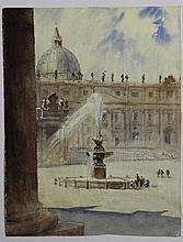 Julien QUONIAM (1876-1954), La place Saint-Pierre de Rome, aquarelle sur papier, 35 x 27.5 cm (Prove