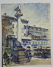 Julien QUONIAM (1876-1954), Place animée, colonne au lion, dessin à l'encre et aquarelle sur papier,