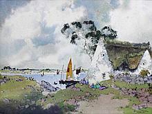 Ernest Pierre GUÉRIN (1887-1952), Retour des pêcheurs, Morbihan, aquarelle située signée en bas à dr