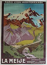 Julien LACAZE (1886-1971), La Meije, versant de la grave, PLM, circa 1920, affiche imprimerie F. Cha