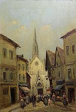 RIANVAL (XXe), Rue animée dans le vieux Rouen, huile sur toile signée en bas à droite, 55 x 38 cm