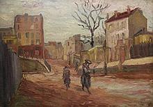 Isaac Lazarus ISRAELS (1865-1934) (Attribué à), Montmartre, huile sur panneau double-face signée en