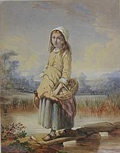 Victor Gabriel GILBERT (1847-1935), Jeune paysanne au panier de pommes