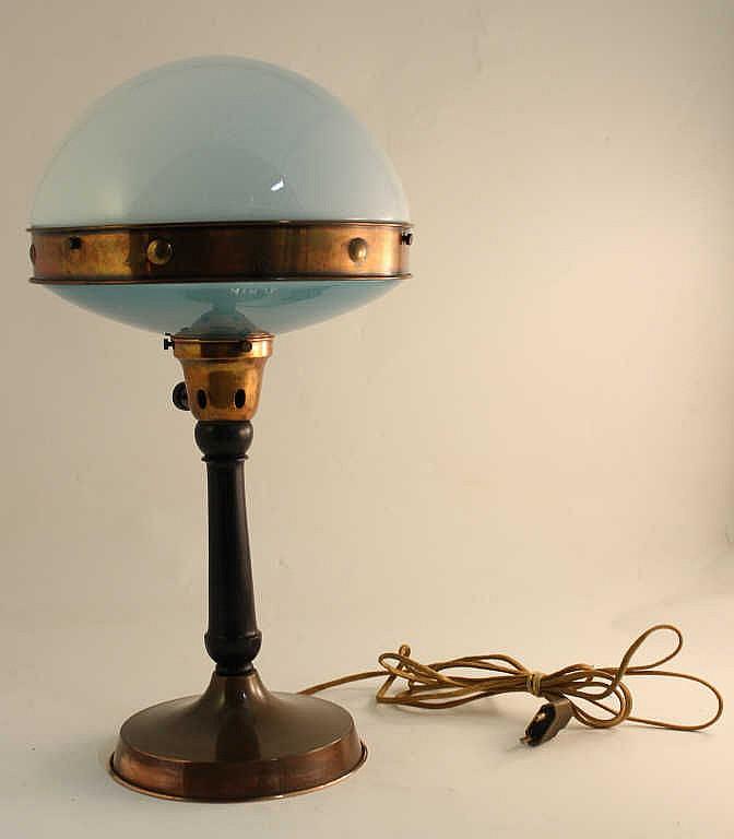 Ilrin lampe champignon pi tement en cuivre et bois abat - Abat jour cuivre ...