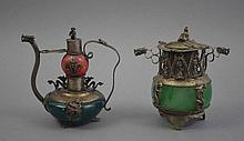 Lidded vessel and small oilcan