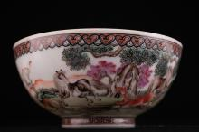 A Chinese Eggshell Thin Porcelain Bowl with Horses