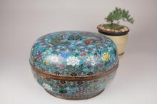A Large Chinese Cloisonné Box with Dragon, Phoenix