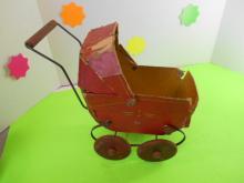 Antique Board Baby Carriage with Wooden Wheels