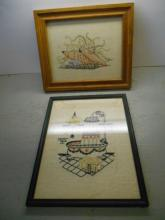 1 Cross Stitch Picture and 1 Embroidered Picture