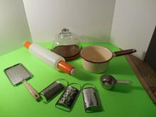 Early Beige and Brown Enamel Ware Pot, Cheese Ball Server, Graters, and Rolling Pen