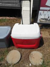 Large Red and White Cooler on wheels
