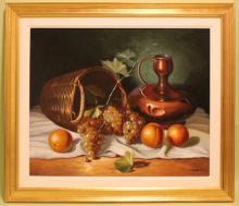Oil on Canvas Stil Life W/Fruit
