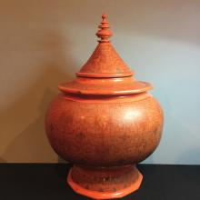 Antique Indian style lacquer vase with cover