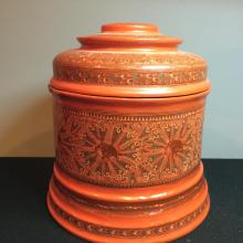 Antique Indian style lacquer box with cover