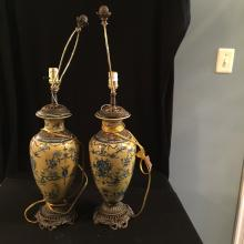 A pair of 19th c porcelain lamp